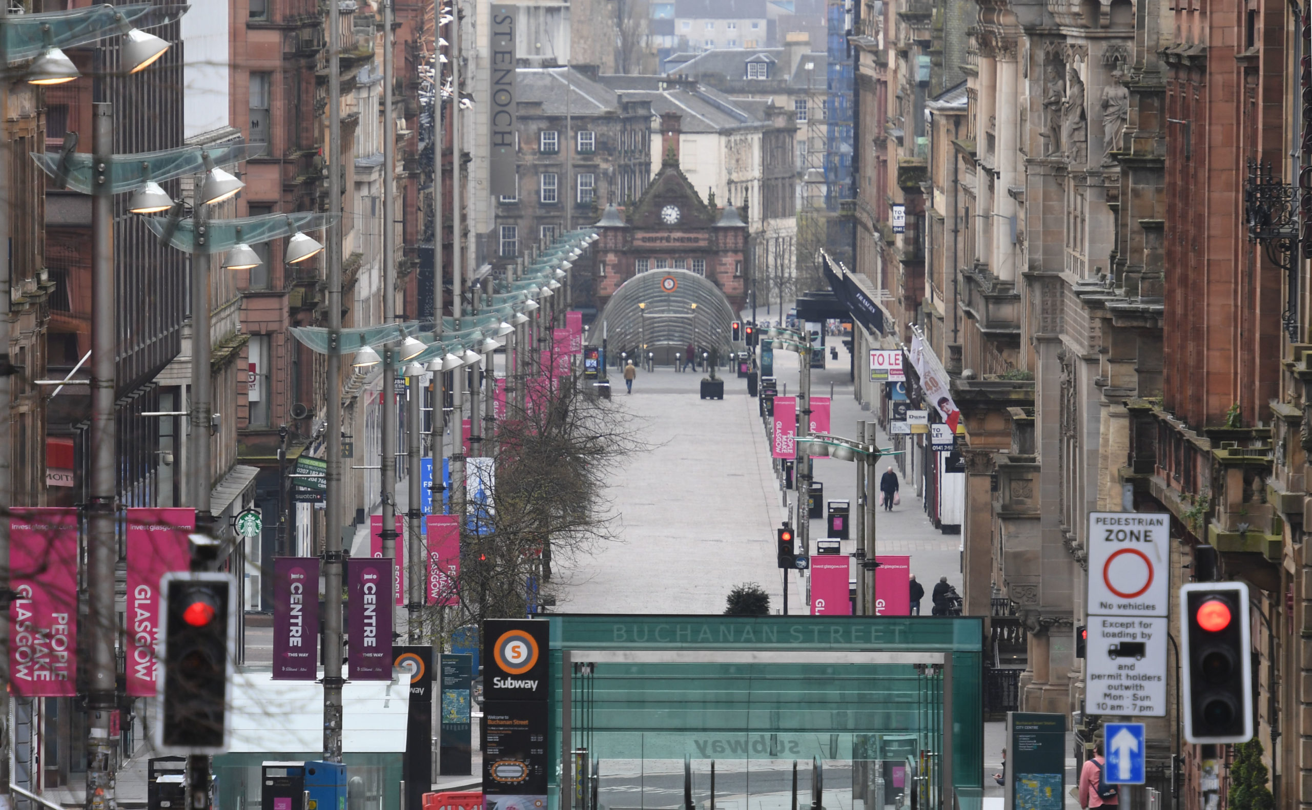 Glasgow's shopping mecca, Buchanan Street, deserted during lockdown