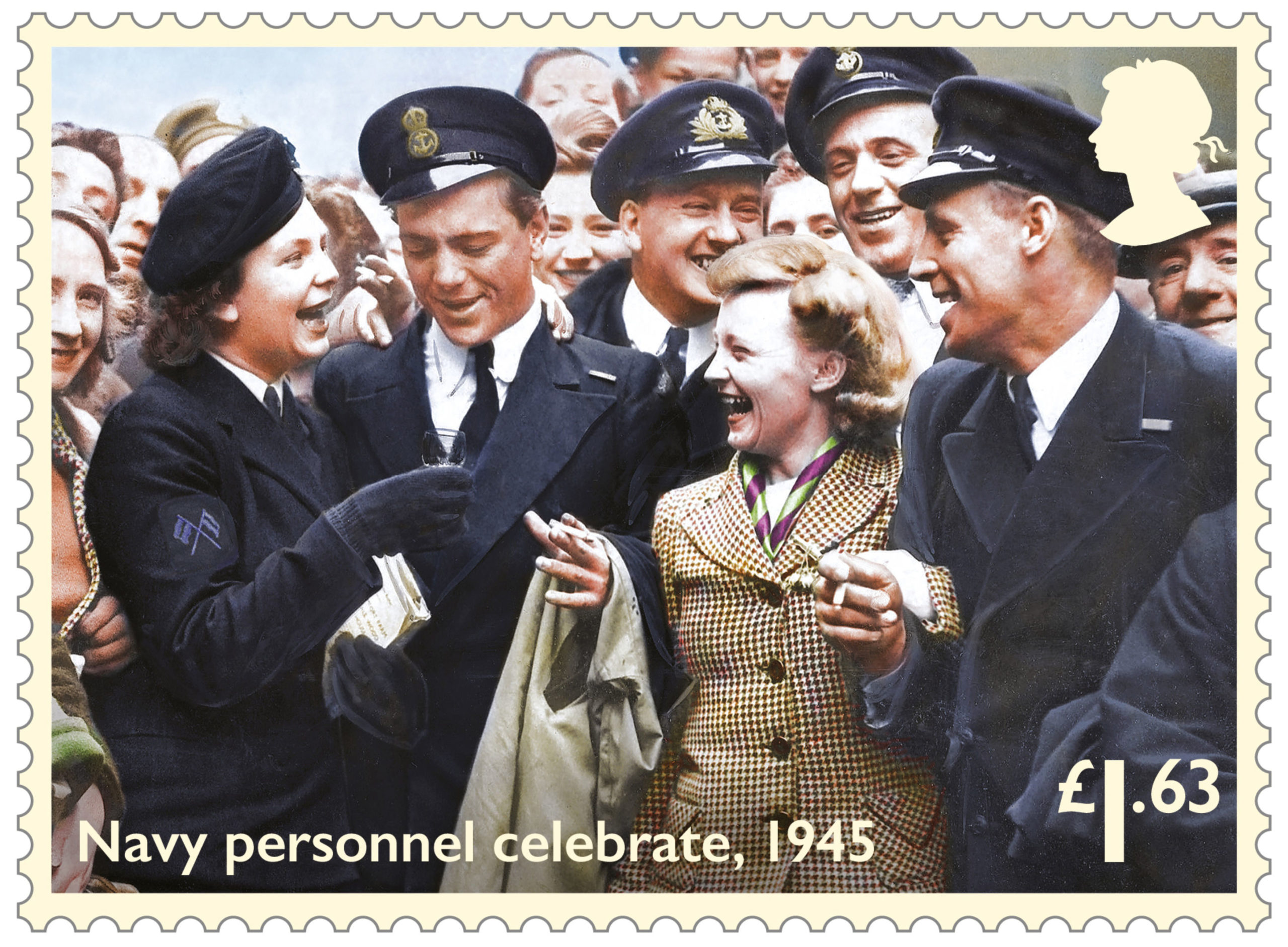 A Wren, left, proposes a toast to Navy colleagues during VE Day celebrations in Glasgow, in one of eight colourised stamps released by Royal Mail to commemorate the 75th anniversary of the end of the Second World War on May 8, 1945