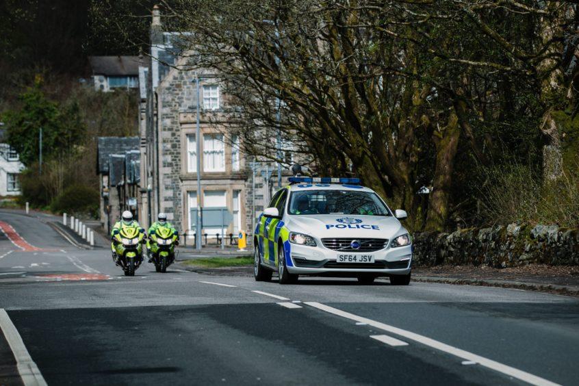 Police near a checkpoint