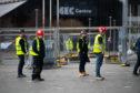 Contractors at the SEC in Glasgow as work begins last week to build new NHS Louisa Jordan hospital