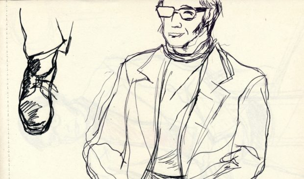Sandy Moffat's notepad with sketches of Edwin Morgan drawn as a study for his 1970s painting of the poet