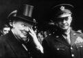 Churchill celebrates VE Day with US President Dwight Eisenhower