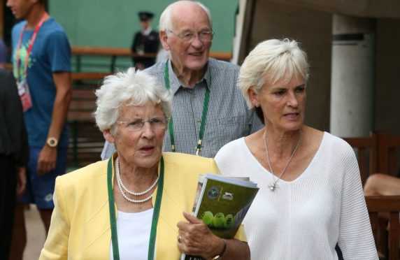 Judy Murray, right,  with mum Shirley Erskine and dad Roy