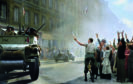 Historic image showing General Philippe Leclerc's 2nd French Armoured Division arriving in Rue Guynemer to liberate                   Paris from Nazi occupation on August 25, 1944 is seen in full colour for the first time