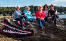 (Left to right) Bronwyn Jenkins-Deas, Juli Dempsey, Lynda Gill, Philippa Dalton and Jenine Ward on Cumbrae's famous Crocodile Rock