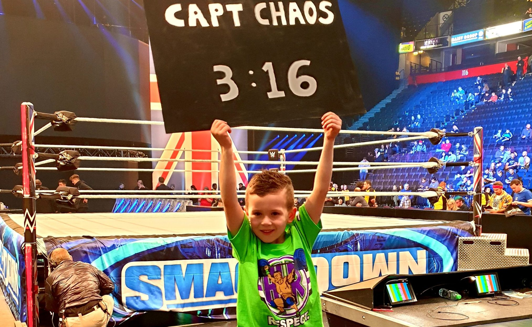 Captain Chaos, a.k.a. Caelan McFaulds at a WWE show