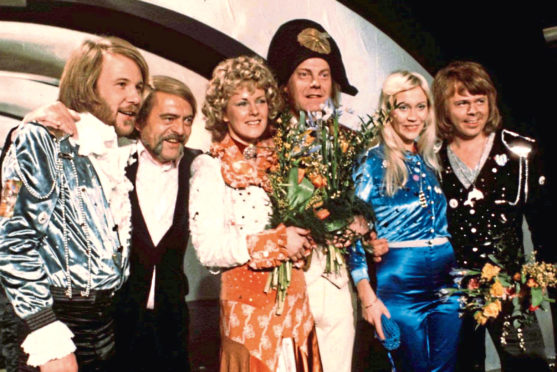 Abba celebrating the victory of their song Waterloo in 1974