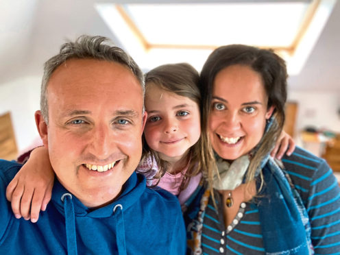 Alex Cole-Hamilton with daughter Darcy and wife Gill