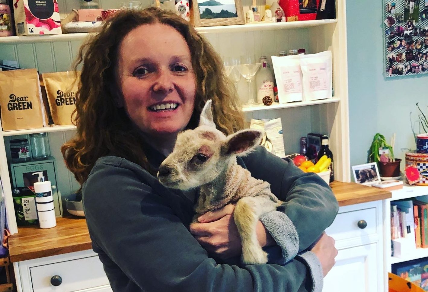 Vivienne MacLaren with Ralph the lamb