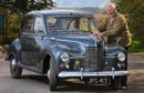 Willie McFarlane with his 1950 Jowett Javelin in Wolfmill, Perthshire