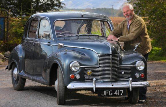 Willie McFarlane with his 1950 Jowett Javelin in Wolfmill, Perthshire
