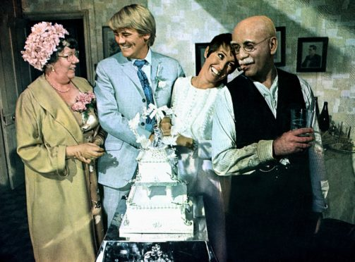 Dandy Nichols, Anthony Booth, Una Stubbs and Warren Mitchell as Alf Garnett in the highly controversial Till Death Us Do Part