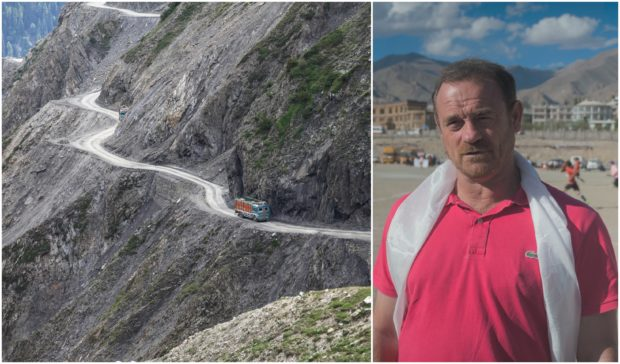 The cliffside Srinagar-Jammu road in the Kashmir Valley, main, described by Real Kashmir FC manager David Robertson, right, as the most terrifying journey in the world