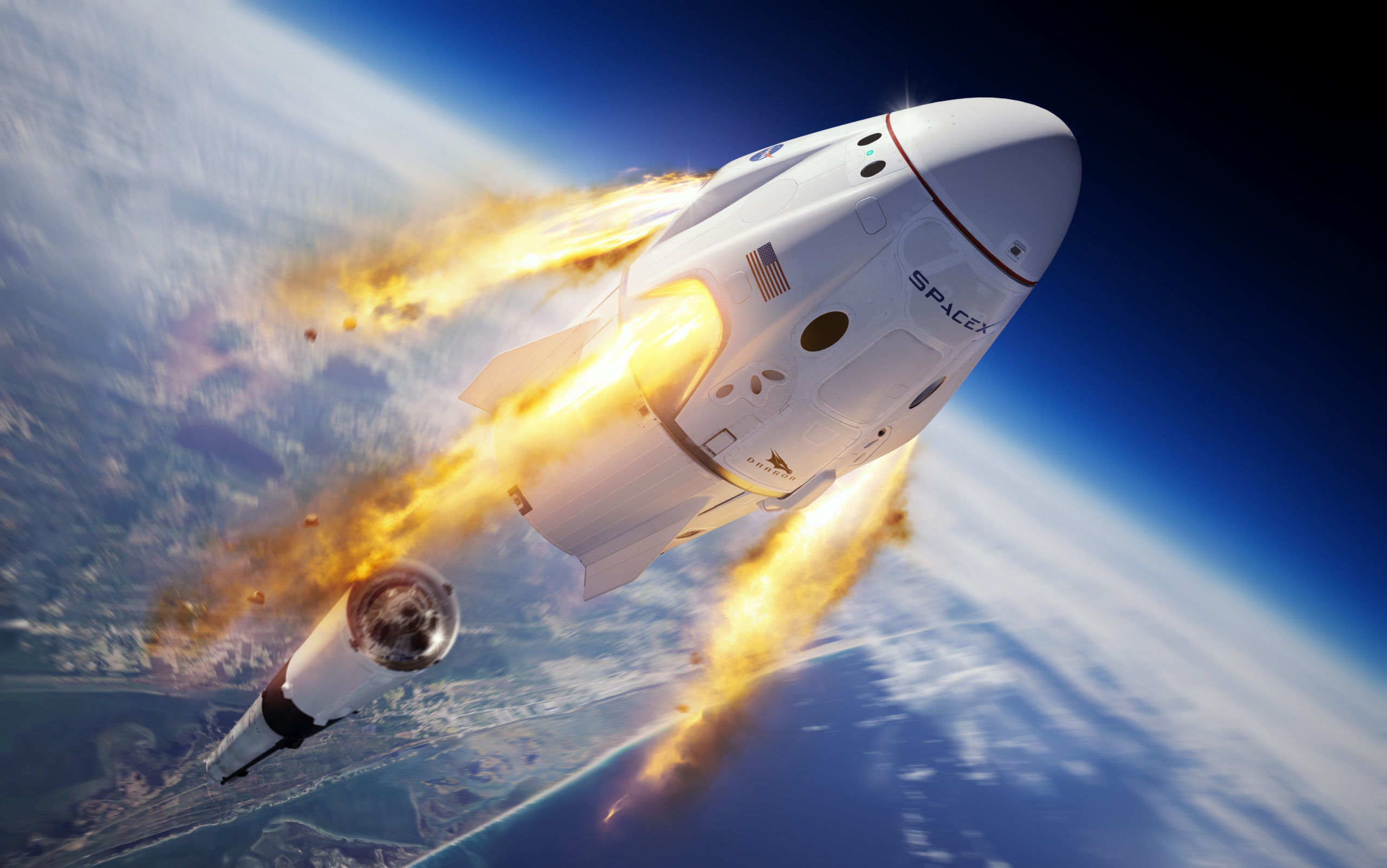 A SpaceX illustration of their Crew Dragon capsule and Falcon 9 rocket