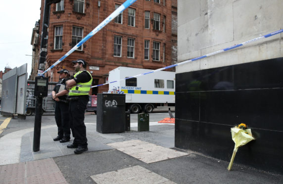 The scene of the knife attack in Glasgow on Friday