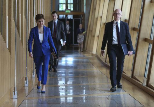 Nicola Sturgeon and Education Secretary John Swinney