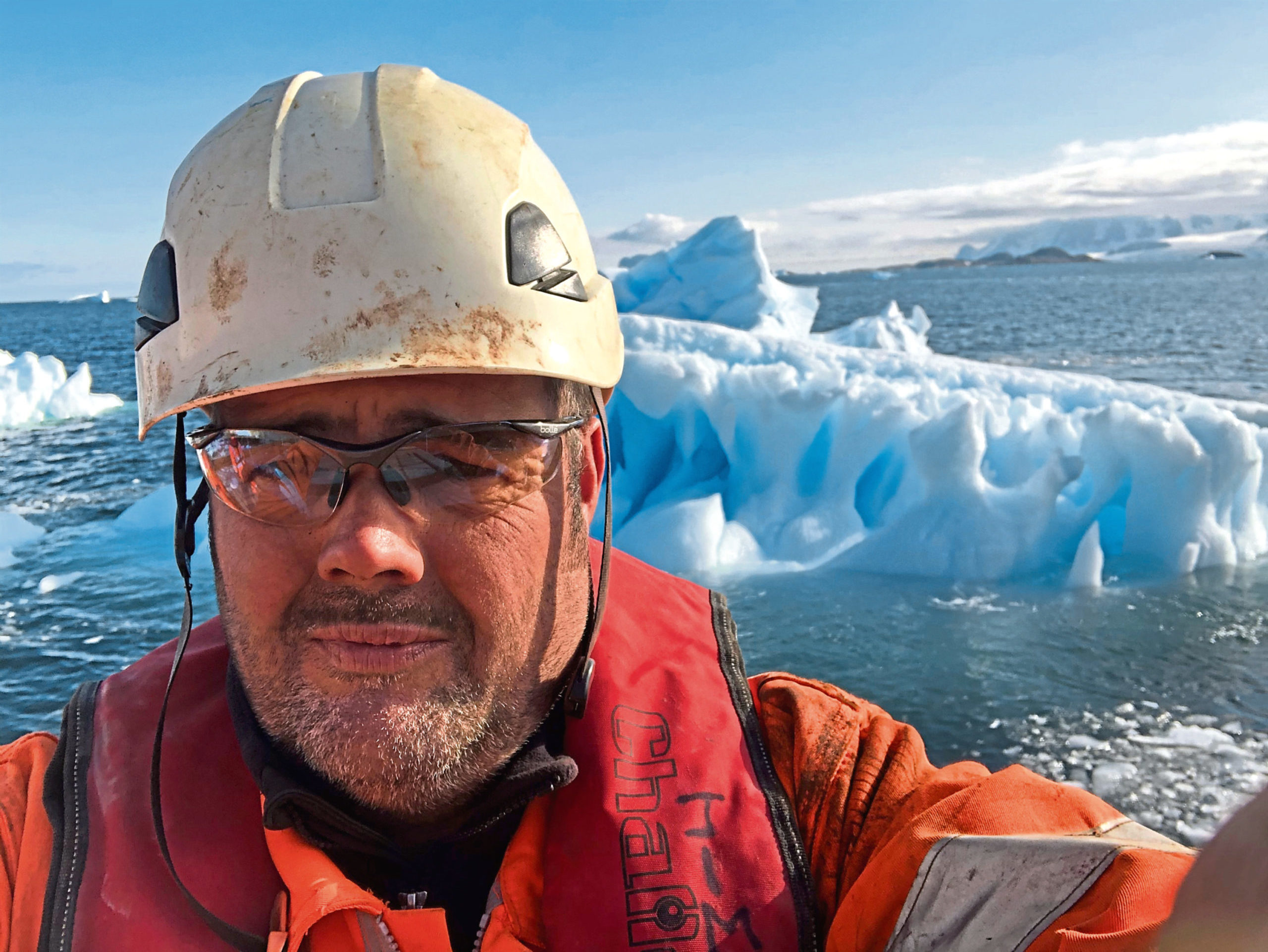 David Simm takes  a selfie while he is trapped in Antarctica