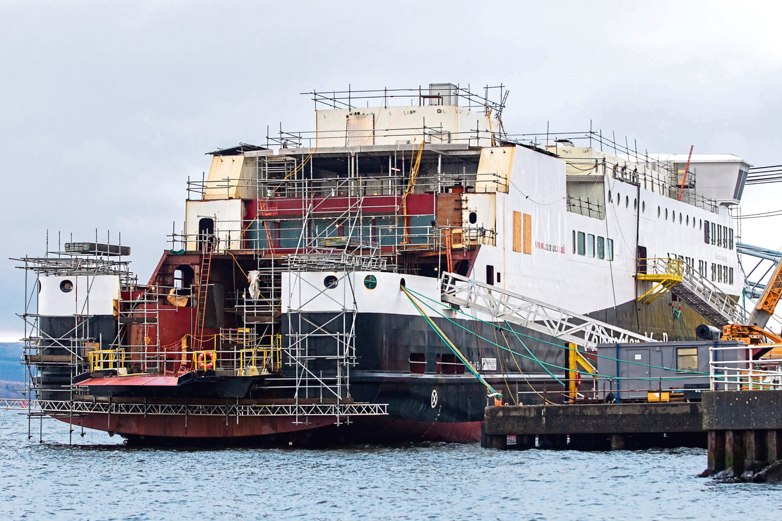 One of the half-built ferries in Port Glasgow