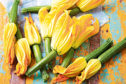 Courgette flowers, deep fried, are a tasty treat