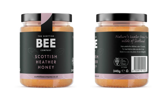 Scottish Bee Company's heather honey with the new BSI Kitemark for Food Assurance