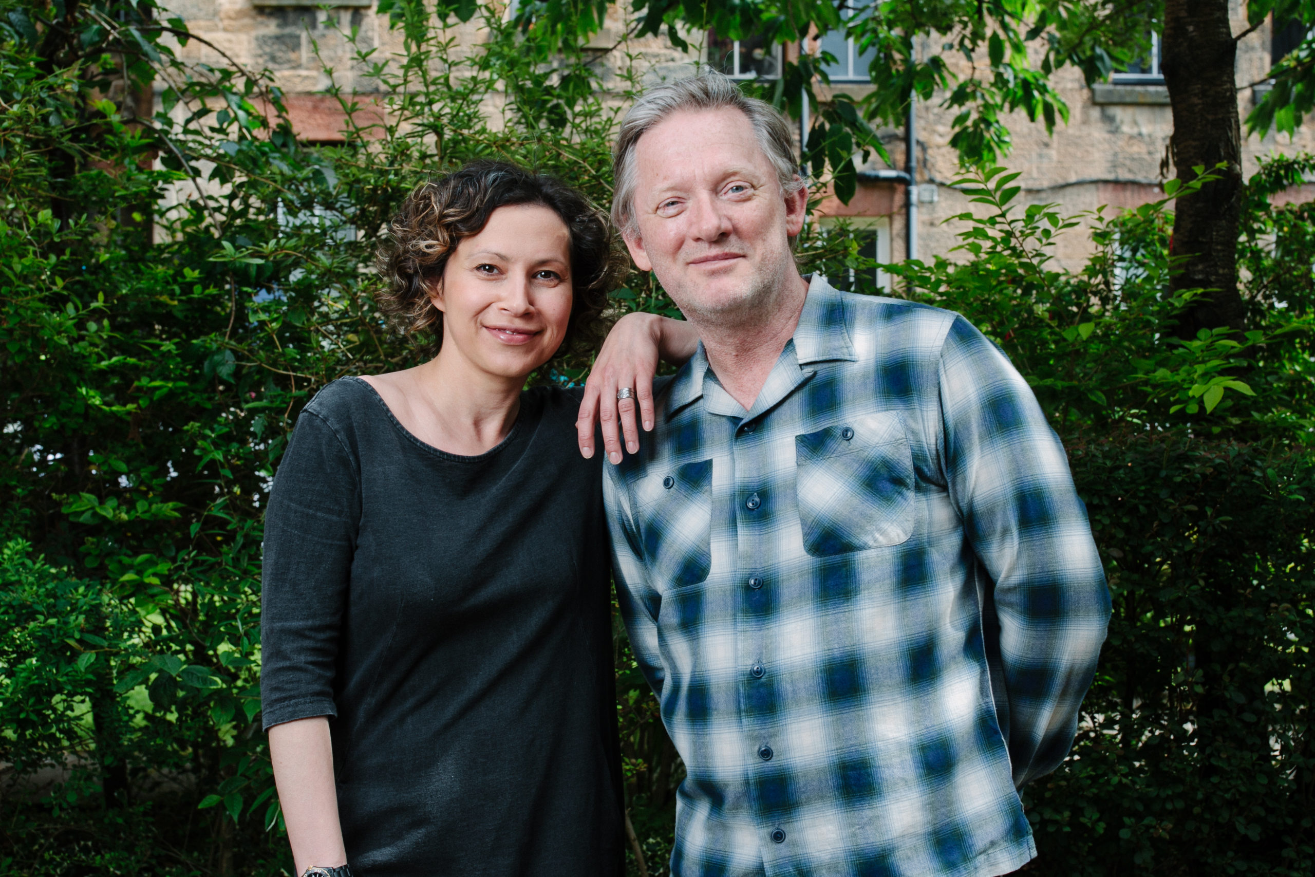 Douglas Henshall with playwright wife Tena Stivicic in their back green last week