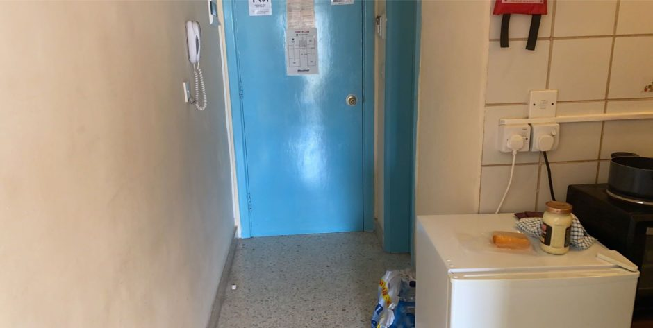 The cramped apartment in Malta where the young mum and her baby are staying
