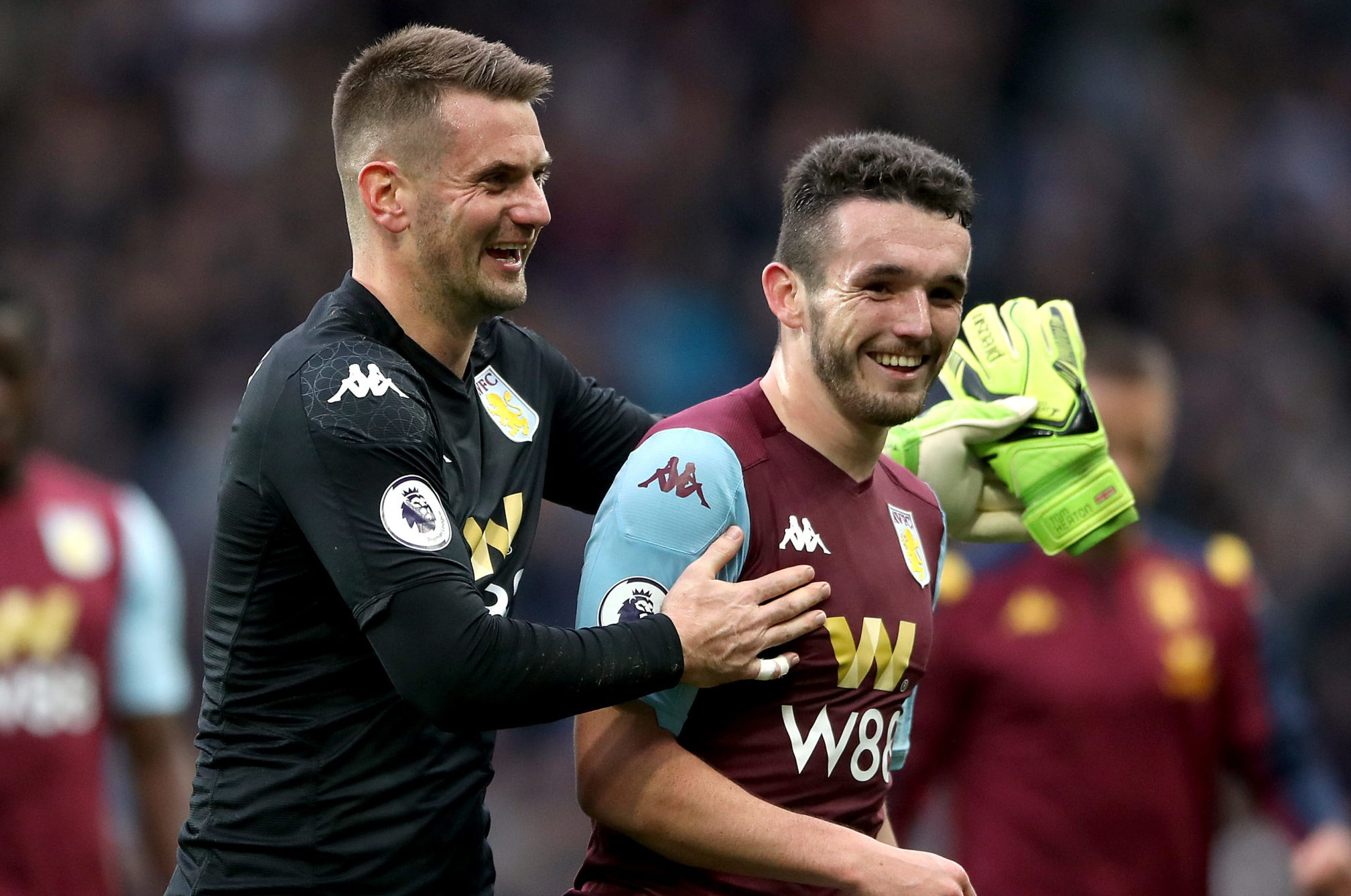 Aston Villa's goalkeeper Tom Heaton (left) and John McGinn during the Premier League match at Villa Park, Birmingham
