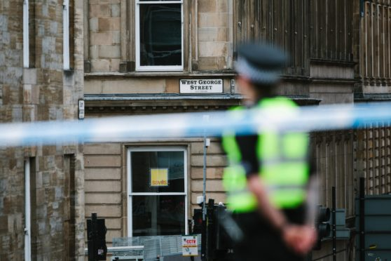 Cordoned off streets around the Park Inn hotel, on West George Street, Glasgow,