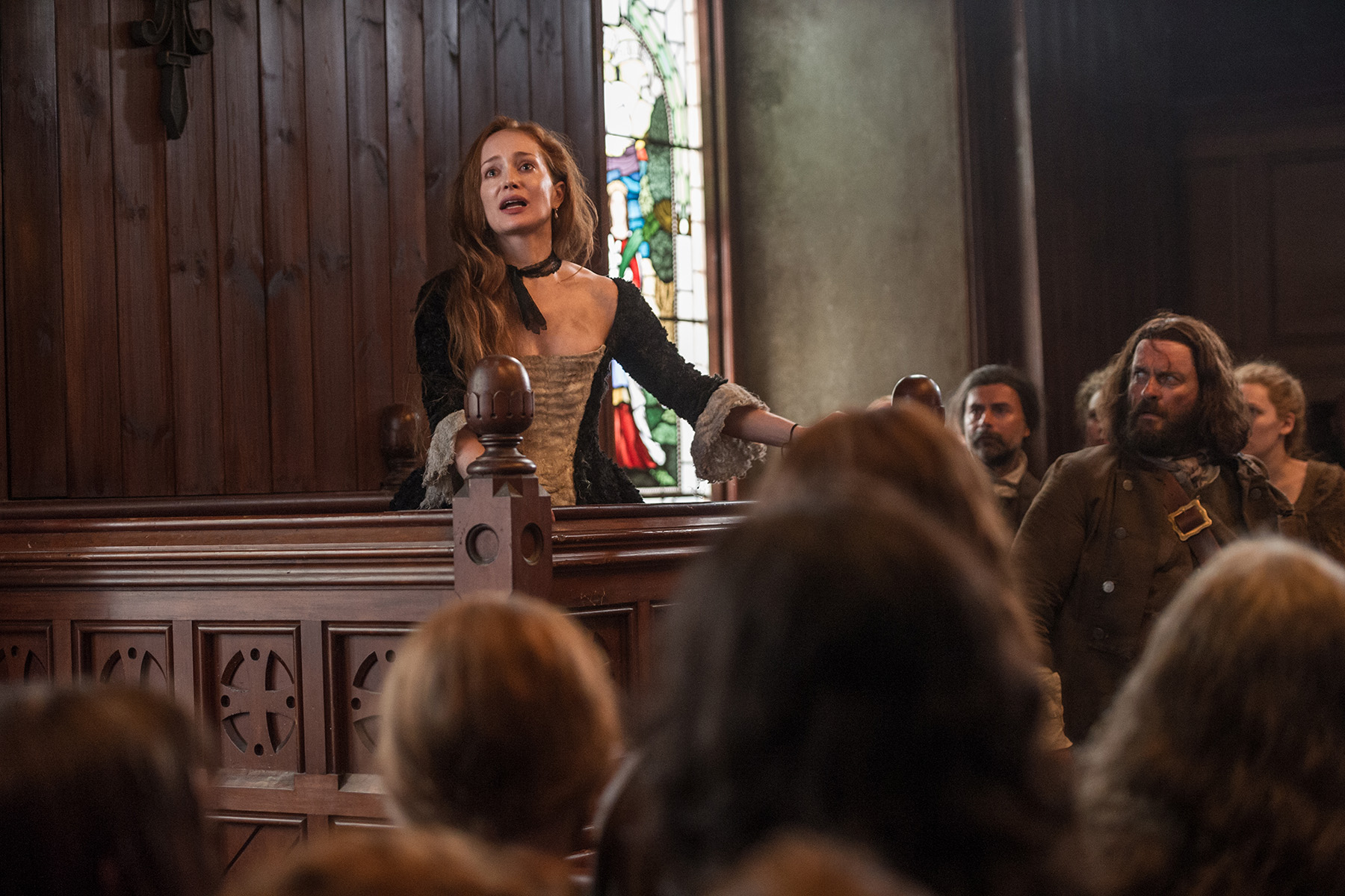 Geillis Duncan, played by Lotte Verbeek and named after a real-life maid accused of witchcraft, faces prosecution in TV hit Outlander