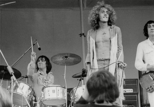 The Who on stage at the Isle of Wight Pop Festival, 1969
