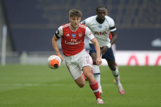 Kieran Tierney in action for Arsenal