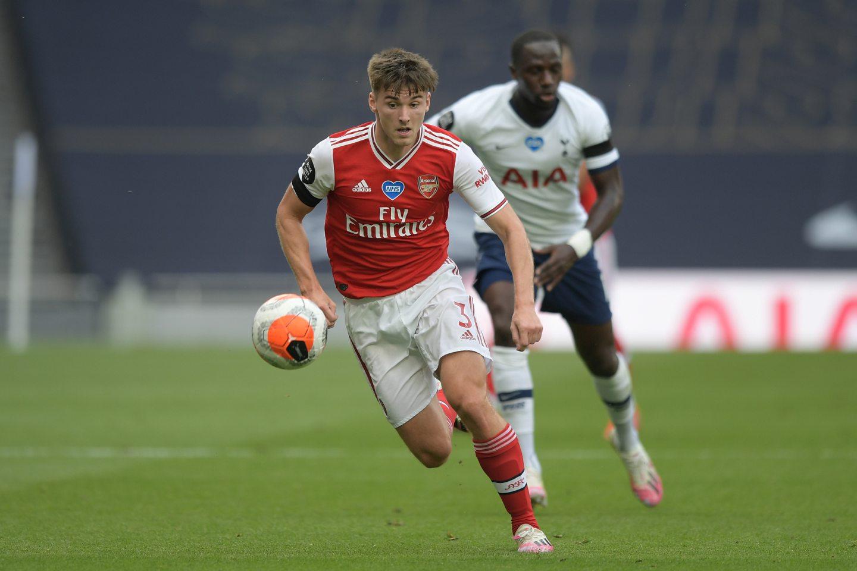 Kieran Tierney in action for Arsenal
