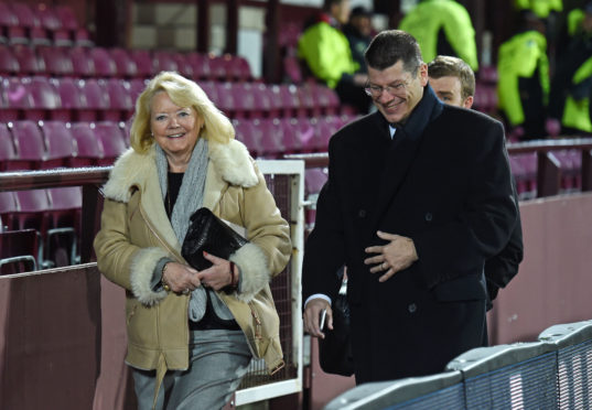 Hearts owner Ann Budge in more-jovial times with SPFL chief executive Neil Doncaster