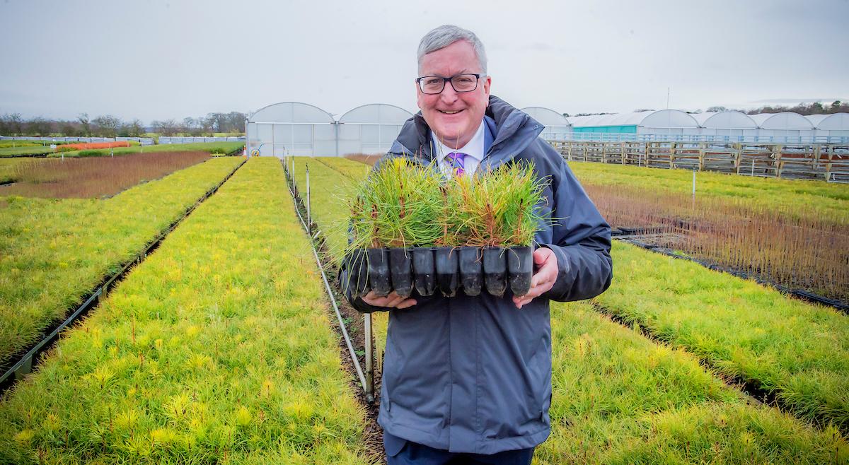 Fergus Ewing MSP at a tree nursery in Scotland