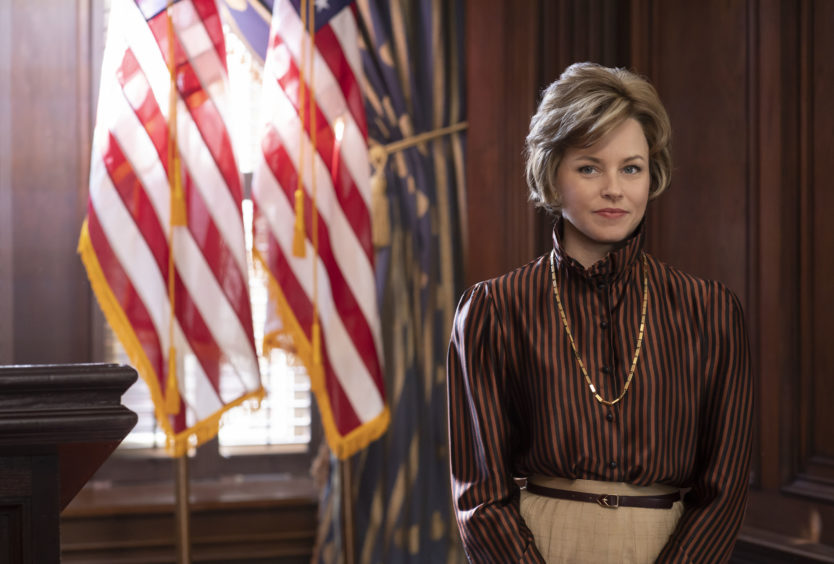 Jill Ruckelshaus (Elizabeth Banks) was a Republican activist appointed in 1975 by President Gerald Ford as the head of commission on women's rights.