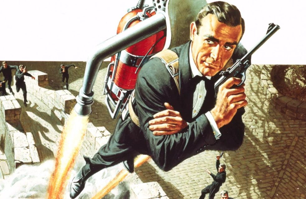 Sean Connery as 007 escapes in a jet pack from gunmen in the poster for 1965 007 movie Thunderball, based on Ian Fleming's spy thriller