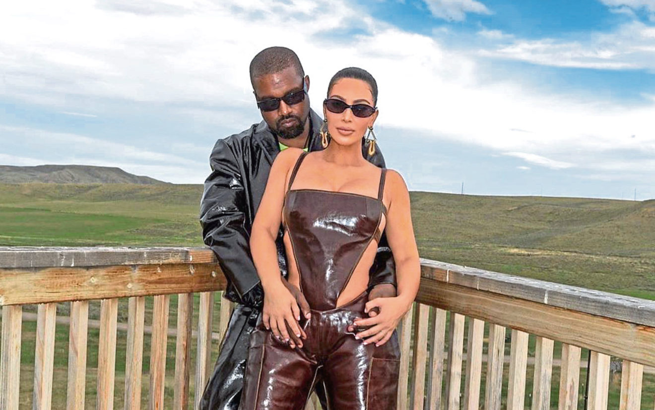 Kim and Kanye pose on social media
