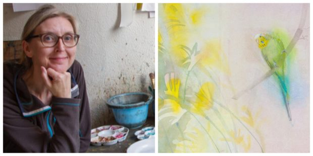 Claire in the studio, and her painting of a budgie which will be exhibited at Modern Masters Women