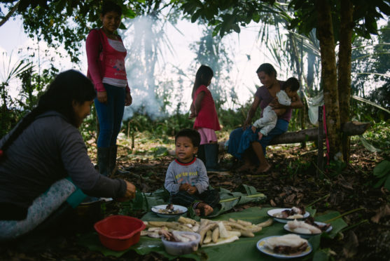 Families of the Wampis Nation prepare a meal in the Peruvian Amazon as legal action on lockdown looms