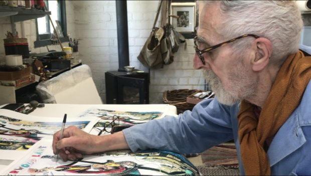John Byrne signing one of the prints