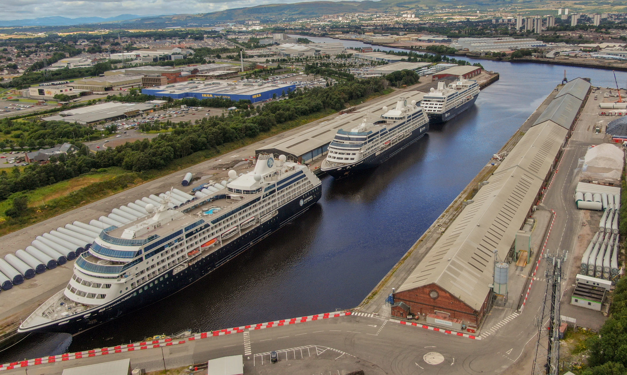 Azamara Quest (middle) with sister ships Journey and Pursuit lined up at King George V Dock in Glasgow