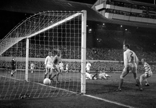 John Hughes scores the equaliser at the Celtic End in the 1970 European Cup semi-final