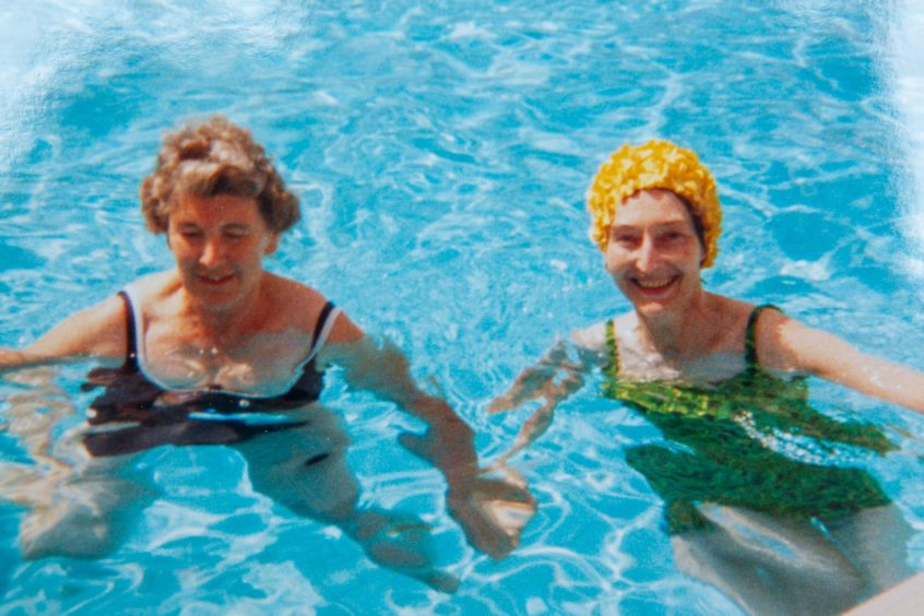 Margaret, left, and Sheila in swimming pool in Jersey