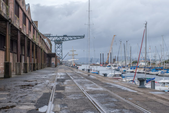 The sugar sheds in James Watt Dock, Greenock, in 2018