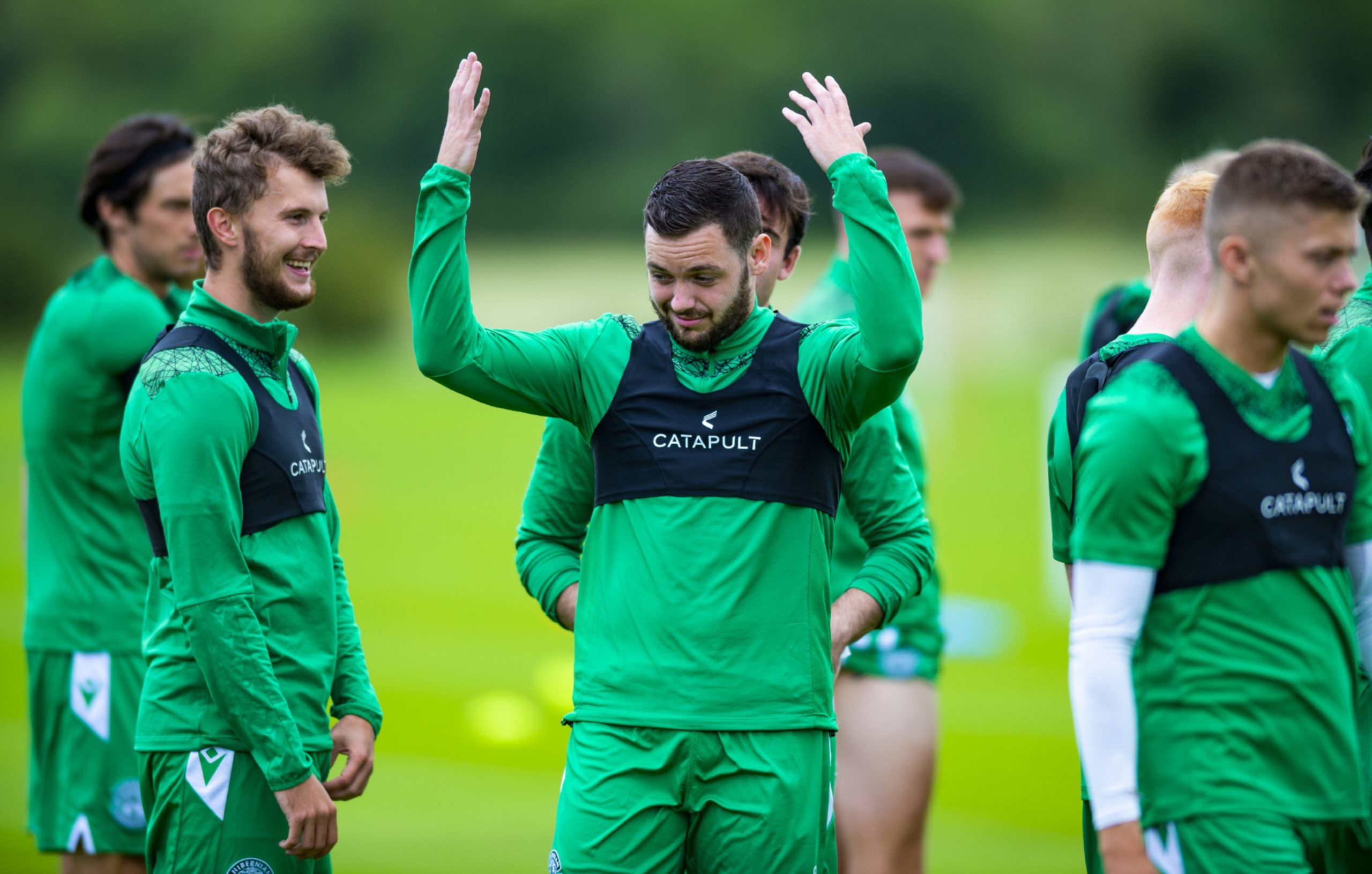 Drey Wright has some fun in training with his new Hibs team-mates