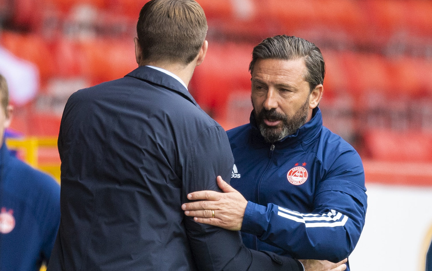 Derek McInnes with Steven Gerrard after Aberdeen had lost to Rangers last Saturday. But that was just the start of the Dons boss' problems