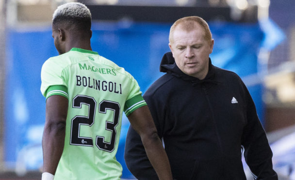 Neil Lennon wishes Boli Bolingoli well at Rugby Park before news of his trip to Spain emerged