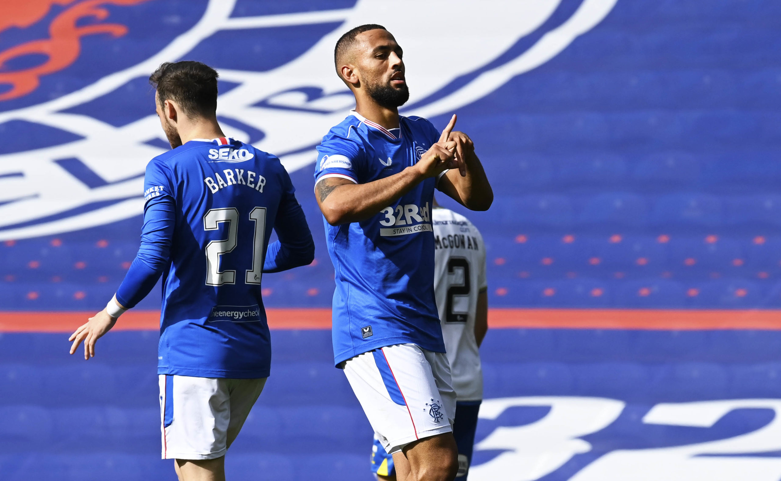 Kemar Roofe celebrates after scoring to make it 1-0 during the Scottish Premiership match between Rangers  and Kilmarnock