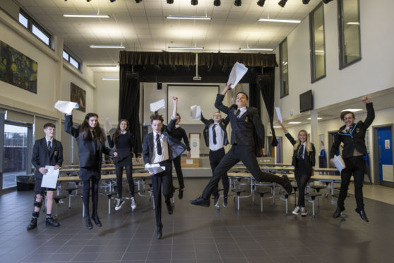 Pupils celebrating their exam results at Linwood High in Renfrewshire