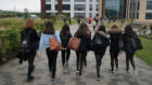 Pupils arrive at Kelso High School in the Scottish Borders